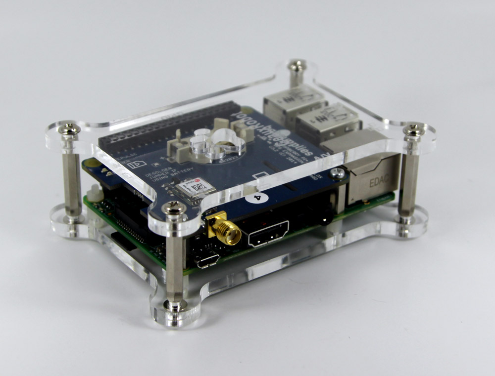 GPS board mounted in Geaux Robot Dog Bone Case for Raspberry Pi B+ also available from HAB Supplies